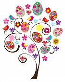 picture of bird egg  - vector Easter tree with flowers eggs birds - JPG