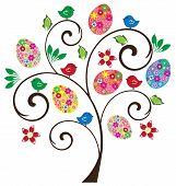 stock photo of bird egg  - vector Easter tree with flowers birds eggs - JPG