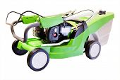 stock photo of grass-cutter  - Green lawn mower under the white background - JPG
