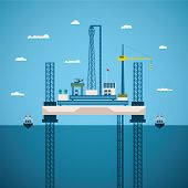 pic of offshore  - Vector concept of oil and gas offshore industry with platform on unstable legs - JPG