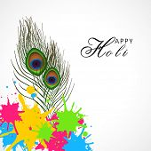 stock photo of holi  - Glossy peacock feather with colorful splash on white background for Indian Festival - JPG