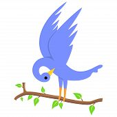pic of leafy  - Illustration of a blue bird on a leafy branch - JPG