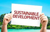 foto of sustainable development  - Sustainable Development card with beach background - JPG