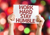 stock photo of humble  - Work Hard Stay Humble card with colorful background - JPG