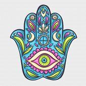 foto of hamsa  - Hamsa hand doodle symbol - JPG
