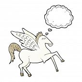 stock photo of pegasus  - cartoon pegasus with thought bubble - JPG
