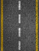image of dash  - Road texture with two yellow stripes and dashed white stripe - JPG