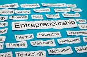 picture of entrepreneurship  - Word Entrepreneurship On Piece Of Paper Salient Among Other Related Keywords - JPG