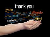 image of appreciation  - Concept or conceptual abstract thank you word cloud held in hands different language - JPG