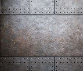 picture of ironclad  - steel metal armor background with rivets  - JPG