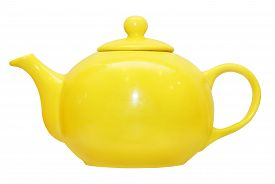 picture of loamy  - Yellow ceramic teapot isolated on white background - JPG