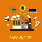 stock photo of fluorescent  - Save energy ecology concept with industrial plant surrounded by solar panel - JPG