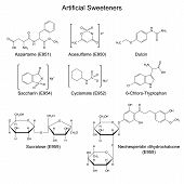 image of food chain  - Structural chemical formulas of artificial sweeteners  - JPG
