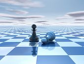picture of chessboard  - beautiful blue reflective abstract background with chess pawns white and black chessboard and sky - JPG