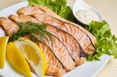 stock photo of salmon steak  - Baked salmon steak with stir - JPG