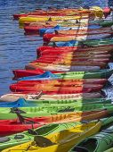 pic of kayak  - Kayaks in a vertical formation off the waters of Rockport - JPG