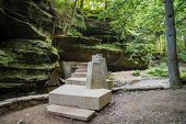 pic of stairway  - Stone stairway crosses a canyon gorge - JPG