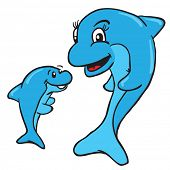pic of dolphins  - mom and baby dolphin cartoon illustration - JPG