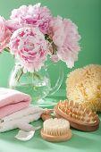 picture of bath sponge  - bath and spa with peony flowers brush sponge towels - JPG