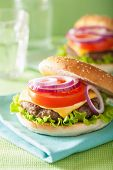 pic of beef-burger  - burger with beef patty cheese lettuce onion tomato - JPG