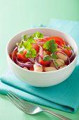 stock photo of cilantro  - healthy tomato salad with white beans onion cilantro - JPG