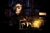 picture of steampunk  - Portrait of a man steampunk in his research laboratory - JPG
