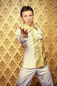 picture of ballet dancer  - Portrait of a handsome man ballet dancer in a stage costume - JPG