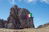 Italian Flag On Marmolada Mountain