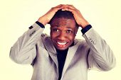 stock photo of reaction  - Black handsome man - JPG