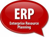stock photo of enterprise  - Speech bubble illustration of information technology acronym abbreviation term definition ERP Enterprise Resource Planning - JPG