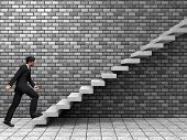 image of climbing wall  - Concept or conceptual 3D man or  businessman climbing on a stair or steps near a wall background - JPG