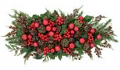 foto of ivy  - Christmas flora with red bauble decorations - JPG