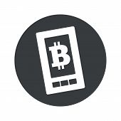 image of bitcoin  - Image of smartphone with bitcoin symbol on screen in black circle - JPG