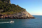 pic of saracen  - The Mediterranean sea and a boat in Liguria - JPG