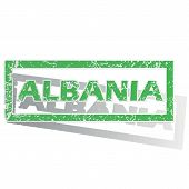 image of albania  - Green stamp with name Albania and shadow - JPG