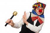 pic of maracas  - Pretty female clown with maracas isolated on white - JPG