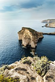 picture of gozo  - Panoramic view of the Azure window and Fungus rock on the island Gozo Malta - JPG