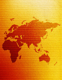 stock photo of eastern hemisphere  - map of the eastern hemisphere with binary code - JPG