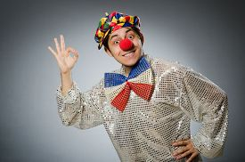 picture of clowns  - Funny clown against dark background - JPG