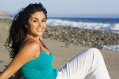 foto of woman beach  - Pretty woman at the beach - JPG