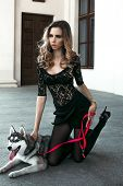 The Girl With The Siberian Husky. Delightful Girl Plays With A Siberian Husky. Girl Walking With A H poster