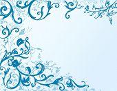 Floral Frame In Blue