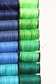 Blue Through To Green Cotton Reels
