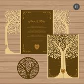 Wedding Invitation Or Greeting Card With Tree. Paper Lace Envelope Template. Wedding Invitation Enve poster