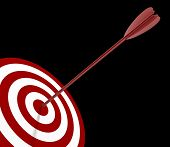 Solo Red and White target with arrow - isolated on black