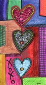 pic of xoxo  - an hand drawn art illustration with hearts and the hugs and kisses xoxo - JPG