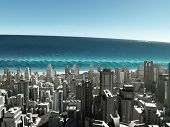 tsunami wave coming to city
