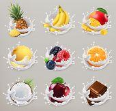 Fruit, berries and yogurt. Mango, banana, pineapple, apple, orange, chocolate, melon, coconut. 3d ve poster