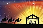 stock photo of holy family  - Illustration of traditional Christian Christmas Nativity scene with the three wise men - JPG