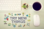 Try New Things Concept With Workstation poster